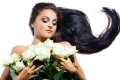 lång rokvinna för hår Arkivbilder