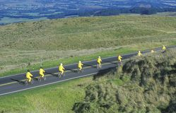 Lång sikt av gruppen av cyklister på Haleakala, Maui, HI Royaltyfri Bild
