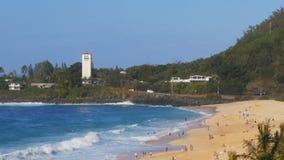 Lång sikt av stranden en waimeafjärd på hawaii lager videofilmer