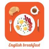 Lång skuggaillustration för plan vektor av den engelska frukosten Royaltyfri Fotografi