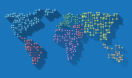 Lång skuggamikrochips för världskarta Fotografering för Bildbyråer