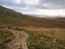 Lång slingrig bana över bergen med Coniston vatten i avståndet, med varma höstfärger, sjöområde royaltyfri bild