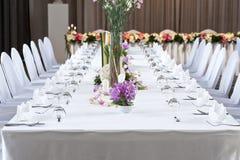 lång tabell för matställe Royaltyfri Fotografi