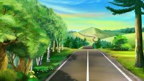 Lång väg till berget Royaltyfri Bild