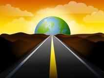 lång vägsolnedgång för jord till stock illustrationer