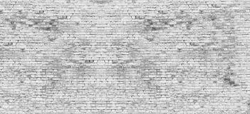 Lång vit tegelstenvägg Royaltyfri Fotografi
