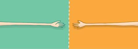 Långa armar i förhandling på en handskakning vektor illustrationer