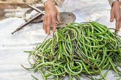 Långa bönor för organisk gård på den asiatiska marknaden Royaltyfria Bilder