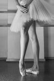 Långa ben av ballerina i toeshoe Arkivfoton
