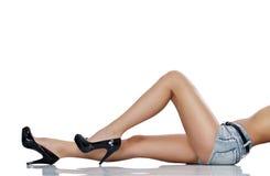 Långa ben för Sensuality royaltyfria bilder
