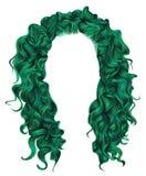 långa gröna färger för lockiga hår peruk för skönhetmodestil Royaltyfria Bilder