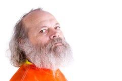 Långa Grey Beard Senior Man Looking på dig som är tuff Royaltyfri Bild