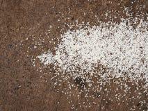 Långa korn för rå thailändska jasminris som är stupade på kornigt Royaltyfria Foton