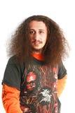 långa män för lockigt hår Royaltyfri Fotografi