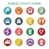 Långa skuggasymboler för allmän nyttighet Royaltyfri Fotografi