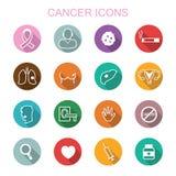 Långa skuggasymboler för cancer stock illustrationer