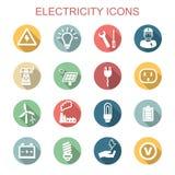 Långa skuggasymboler för elektricitet royaltyfri illustrationer