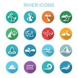Långa skuggasymboler för flod Arkivfoton