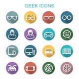 Långa skuggasymboler för Geek stock illustrationer