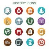 Långa skuggasymboler för historia vektor illustrationer