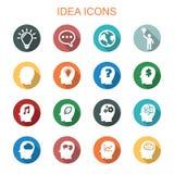 Långa skuggasymboler för idé vektor illustrationer