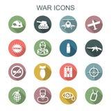 Långa skuggasymboler för krig royaltyfri illustrationer