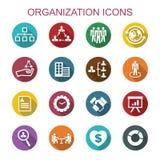 Långa skuggasymboler för organisation vektor illustrationer