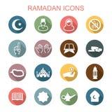 Långa skuggasymboler för Ramadan stock illustrationer