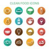 Långa skuggasymboler för ren mat Royaltyfria Bilder