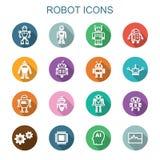 Långa skuggasymboler för robot Arkivfoton
