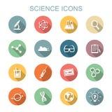 Långa skuggasymboler för vetenskap stock illustrationer