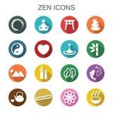 Långa skuggasymboler för Zen Royaltyfria Bilder