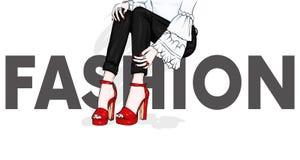 Långa spensliga ben i åtsittande byxa och hög-heeled skor Mode, stil, kläder och tillbehör också vektor för coreldrawillustration Fotografering för Bildbyråer
