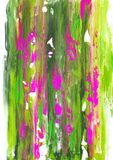 Långa strimmor av gräsplan och rosa färger målar på vitbok Royaltyfri Fotografi