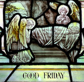Långfredag i målat glass (Jesus Christ korsfäste), royaltyfri foto