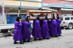 Långfredagprocession i La Paz, Bolivia Arkivfoto