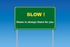 långsam trafik för tecken Royaltyfri Bild