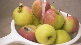 Långsamma mo-äpplen i en durkslag under vatten arkivfilmer