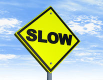 långsamt ord för vägmärke Fotografering för Bildbyråer