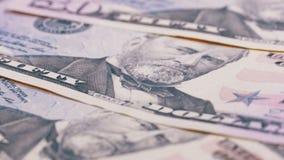 Långsamt rotera femtio dollar amerikanräkningar Bakgrund med pengar lager videofilmer