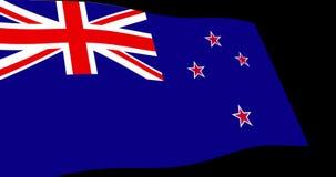 Långsamt vinka för nyazeeländsk flagga i perspektivet, längd i fot räknat för animering 4K