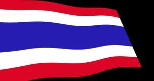 Långsamt vinka för Thailand flagga i perspektivet, längd i fot räknat för animering 4K