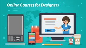 Långt affärsbaner - online-kurser för formgivare royaltyfri illustrationer