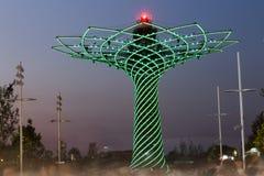 Långt exponeringsaftonfoto av den härliga ljusa showen från trädet av liv, symbolet av expon 2015 område Royaltyfri Fotografi