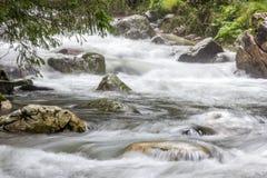 Långt exponeringsfoto av en bergflod Royaltyfri Bild