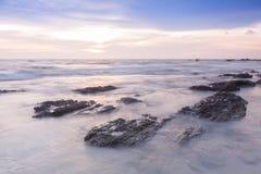 Långt exponeringslandskap på havet Arkivbilder