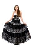 långt kvinnabarn för härlig klänning arkivbilder