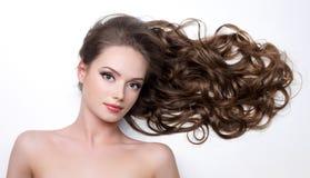 långt kvinnabarn för härliga hår Royaltyfria Foton
