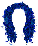 Långt mörker för lockiga hår - blåttfärger Skönhetmodestil wig Arkivbild