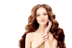 långt model wavy för hår Vågkrullningsfrisyr Skönhetkvinna med långt sunt och skinande slätt svart hår Upp Royaltyfri Foto